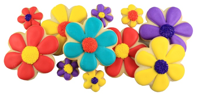 An important Earth Day Important! Remember environment and treating each other kind! These pretty daisies will bring a smile to anyone's day. Our most popular thank you gift. Twelve daisy cookies in our large gift box or four large with eight bite sized cookies in our small gift box. Each cookie is hand-iced and delivered with your personalized message.