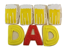 "Deliver dad a few pints as a sweet Father's Day surprise. This gift box comes with 8 beer mug cookies cookies with 6 letter cookies ""DAD"" on each layer - in our signature large gift. Each cookie is hand-iced and delivered with your personalized message."